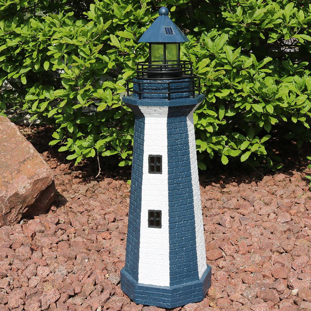 Sunnydaze Solar Striped LED Lighthouse Outdoor Decor, 36 Inch Tall