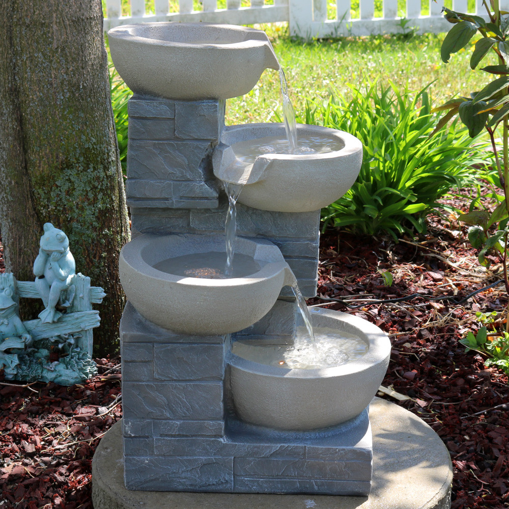 Sunnydaze 4 tier descending stone bowls outdoor water fountain with image 1 audiocablefo
