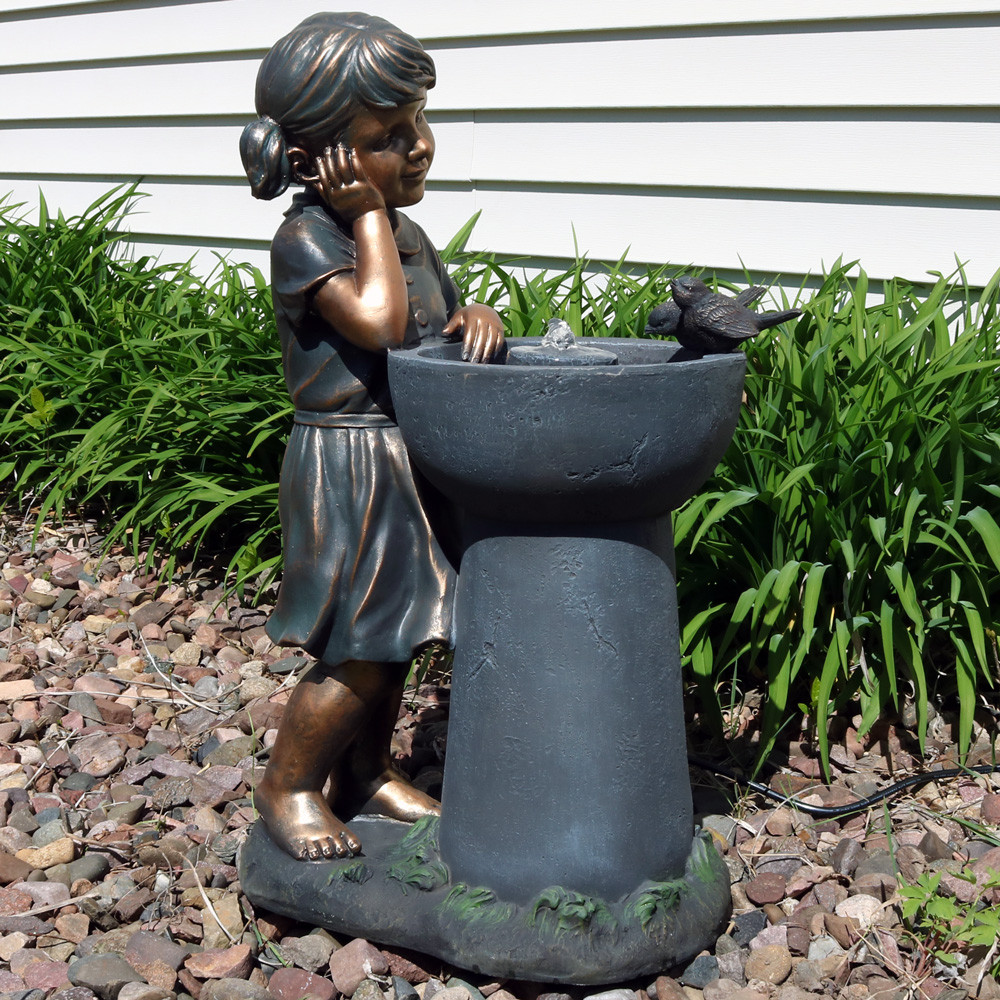 Elegant Little Girl Admiring Water Spout Outdoor Garden Water Fountain, Outdoor