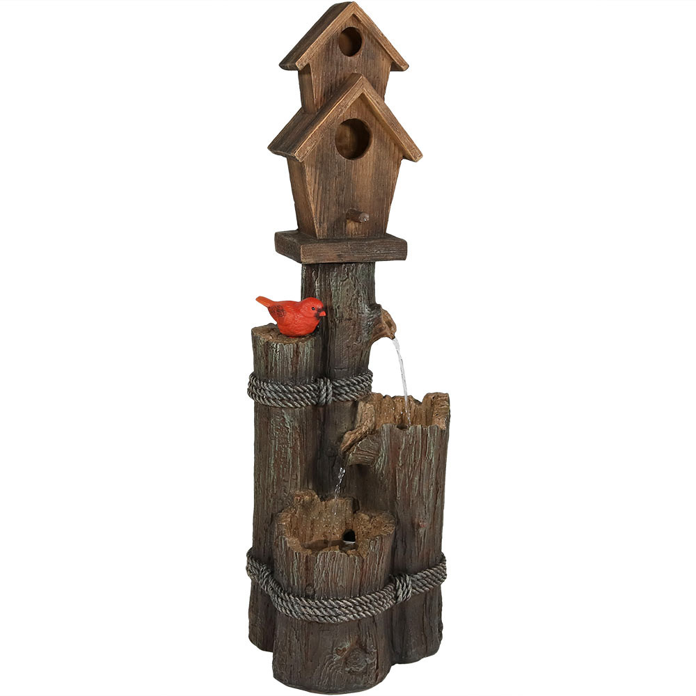Sunnydaze 2 Story Birdhouse with Cardinal Outdoor Water Fountain ...