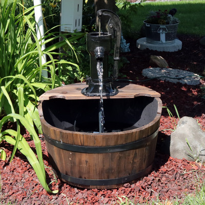 Sunnydaze Old-Fashioned Wood Bin Outdoor Fountain with Water Tap, 28 Inch Tall