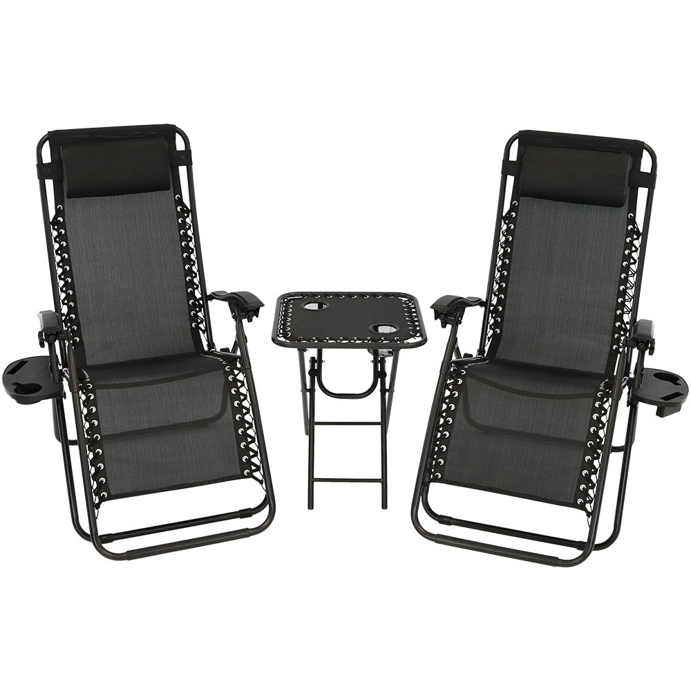 Black Set.  sc 1 st  Serenity Health & Sunnydaze Zero Gravity Lounge Chairs and Table Set islam-shia.org
