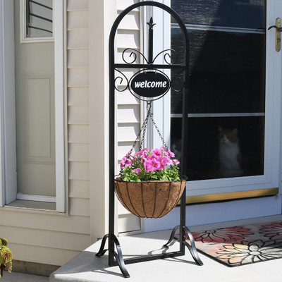 sunnydaze outdoor decorative welcome sign with hanging basket planter 48 inch tall outdoor decor. Black Bedroom Furniture Sets. Home Design Ideas