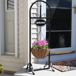 Sunnydaze Outdoor Decorative Welcome Sign with Hanging Basket Planter Stand, 48 Inch Tall