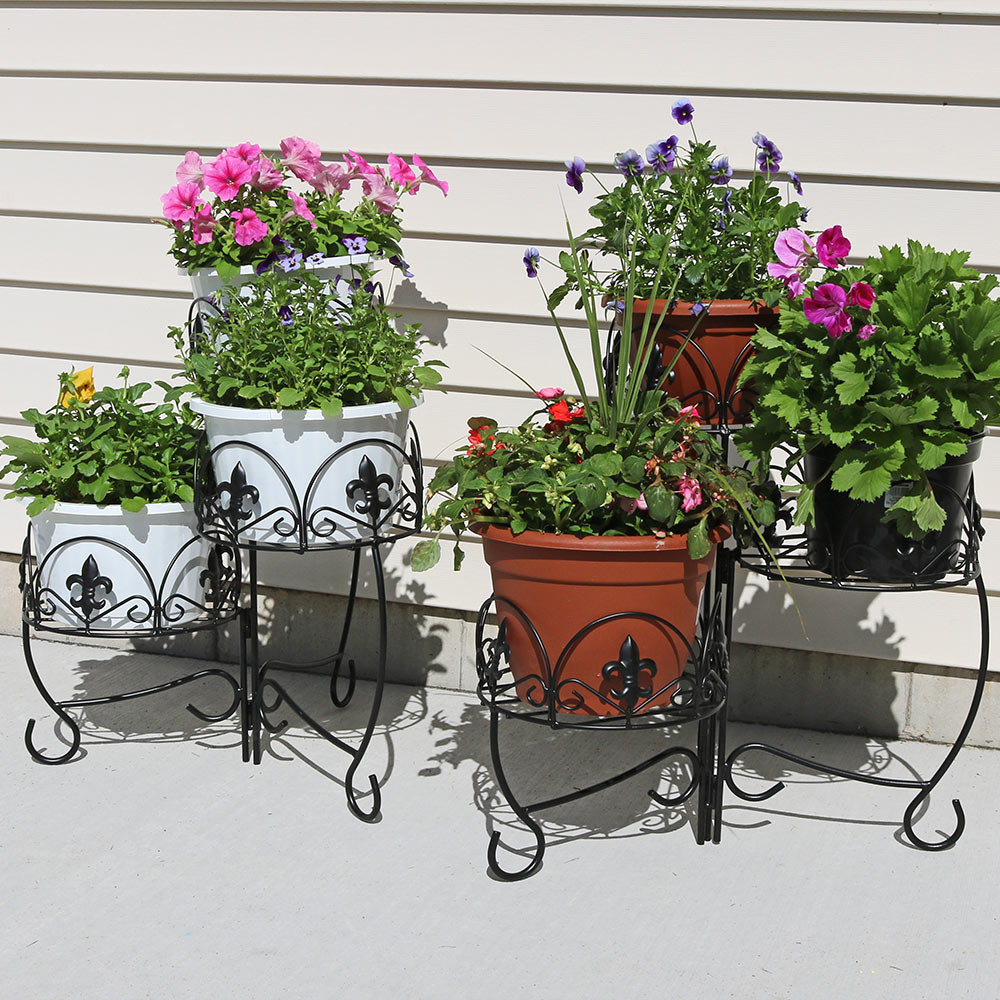 Sunnydaze French Lily Design Three Tiered Plant Stand 22