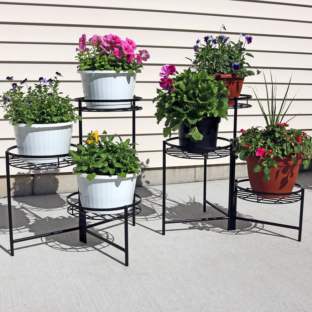 Outdoor Planter Stand Sunnydaze black three tiered planter stand 22 inch tall set of two image 1 workwithnaturefo