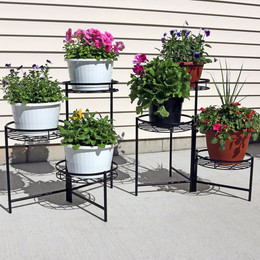 Sunnydaze Black Three-Tiered Indoor/Outdoor Planter Stand, 22 Inch Tall, Set of Two