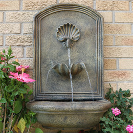 Merveilleux Florentine Stone Outdoors · Sunnydaze Seaside Solar Wall Fountain ...