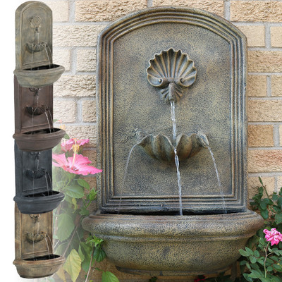 Sunnydaze Seaside Outdoor Wall Fountain Electric Submersible Pump Inch Tall Water