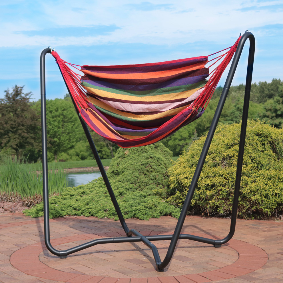 sunset     sunnydaze 2 point hanging hammock chair swing and a stand set for      rh   serenityhealth