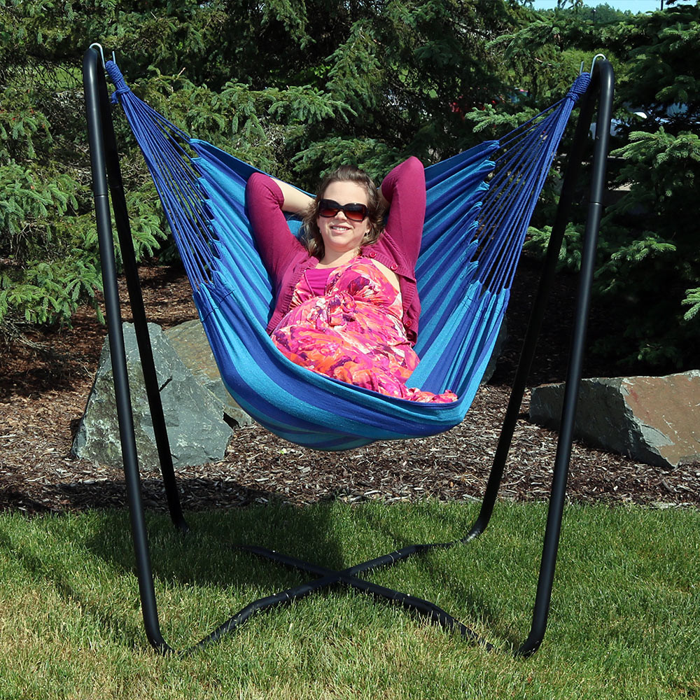 sunset  sunset  beach oasis  beach oasis     sunnydaze 2 point hanging hammock chair swing and a stand set for      rh   serenityhealth