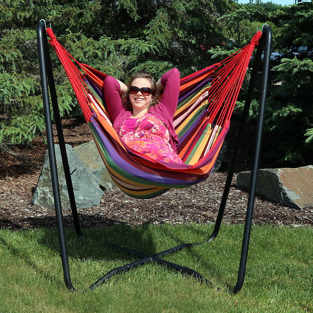 Sunnydaze 2-Point Hanging Hammock Chair Swing and A-Stand ...