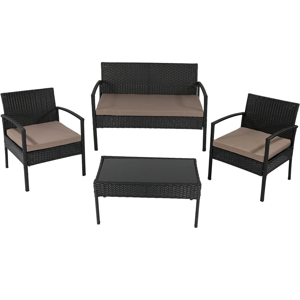Anadia 4 Piece Rattan Lounger Patio Furniture Set. Sunnydaze Anadia 4 Piece Lounger Patio Furniture Set with Black