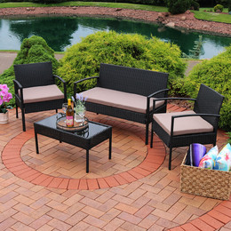 Anadia 4-Piece Rattan Lounger Patio Furniture Set