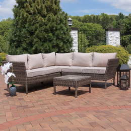 Sunnydaze Avel Wicker Rattan 4 Piece Sofa Sectional Patio Furniture Set  With Taupe Cushions