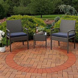Sunnydaze Bita 3-Piece Wicker Rattan Lounger Patio Furniture Set with Dark Blue Cushions