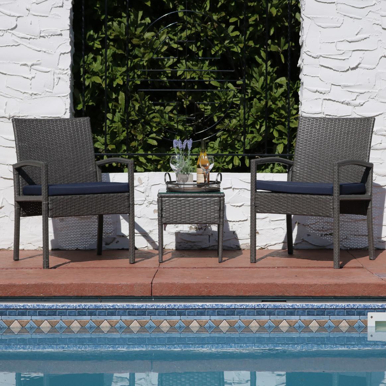Sunnydaze Bita Wicker Rattan Patio Furniture Set Blue