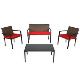Kula 4-Piece Rattan Patio Furniture Lounger Set