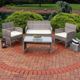 Lomero 4 Piece Lounger Patio Furniture Set With Brown Wicker And Beige  Cushions