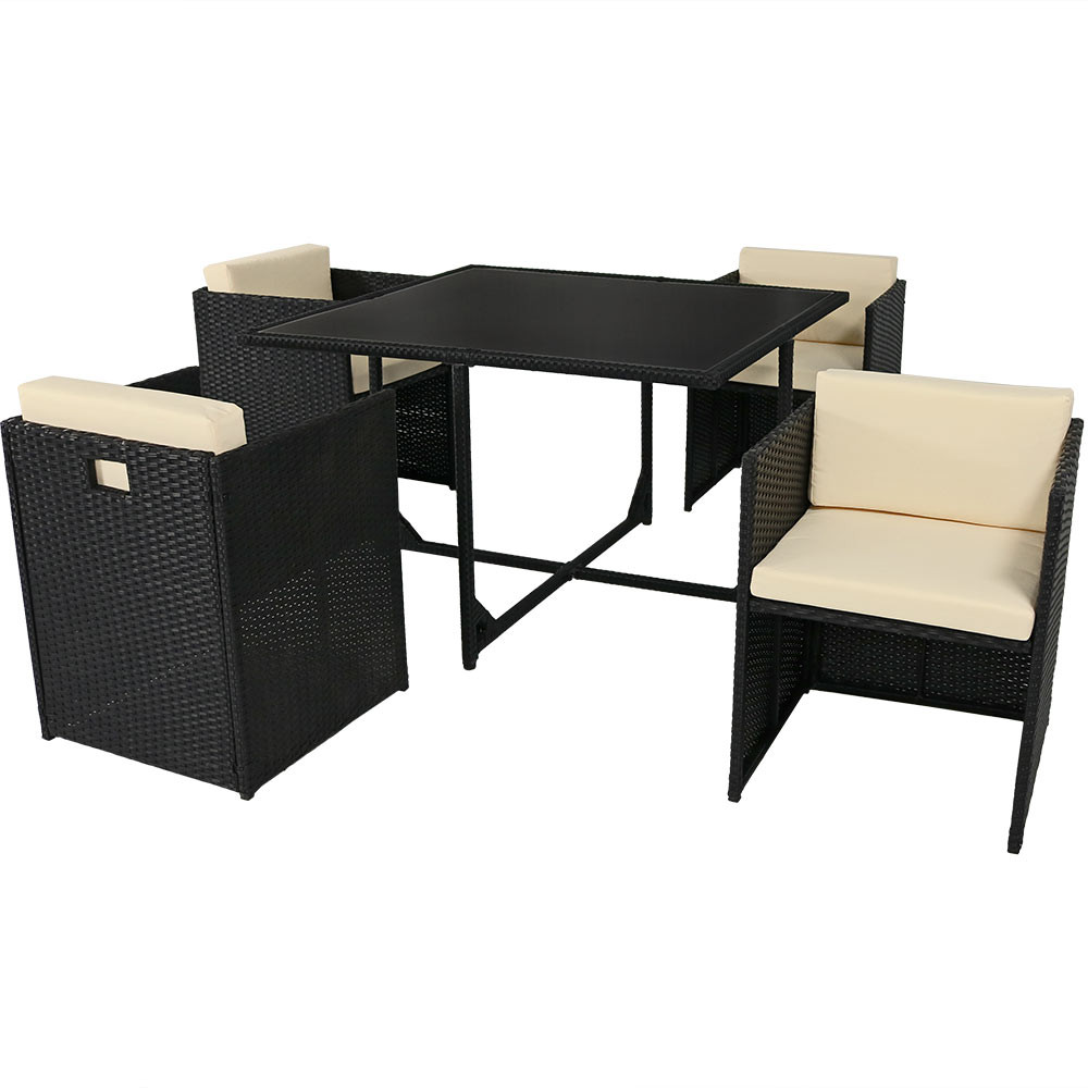 Black outdoor dining table -  Miliani 5 Piece Outdoor Dining Patio Furniture Set