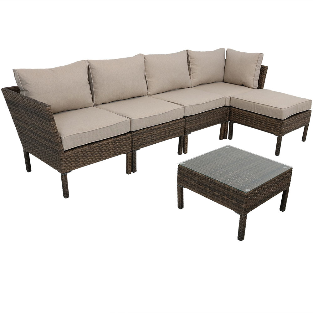 Outdoor; Belgrano Wicker Rattan 6 Piece Sofa Sectional Patio Furniture Set  ...