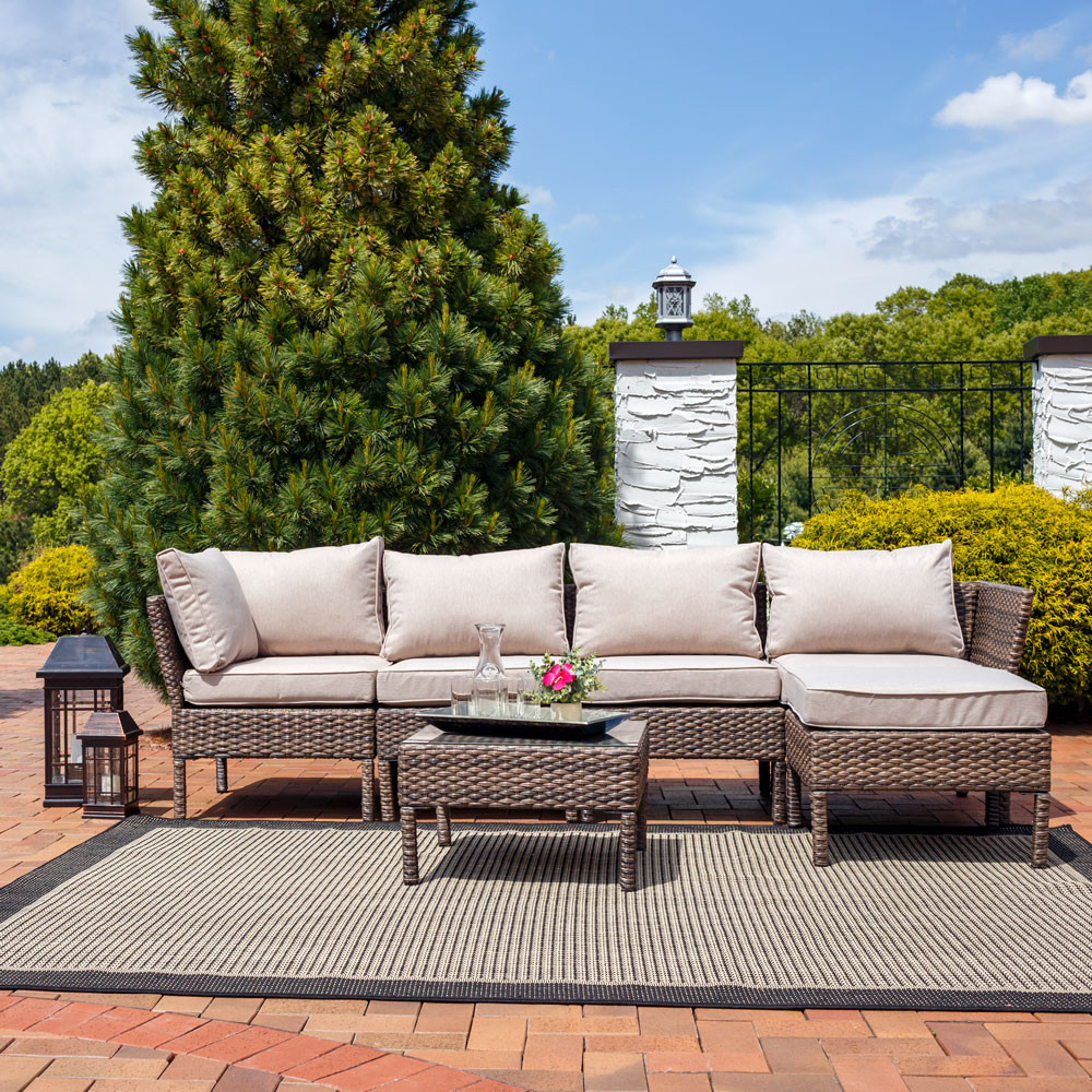 Sunnydaze Belgrano 6-Piece Sofa Sectional Patio Furniture Set