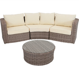 Mollendo Wicker Rattan 4-Piece Sofa Sectional Patio Furniture Set