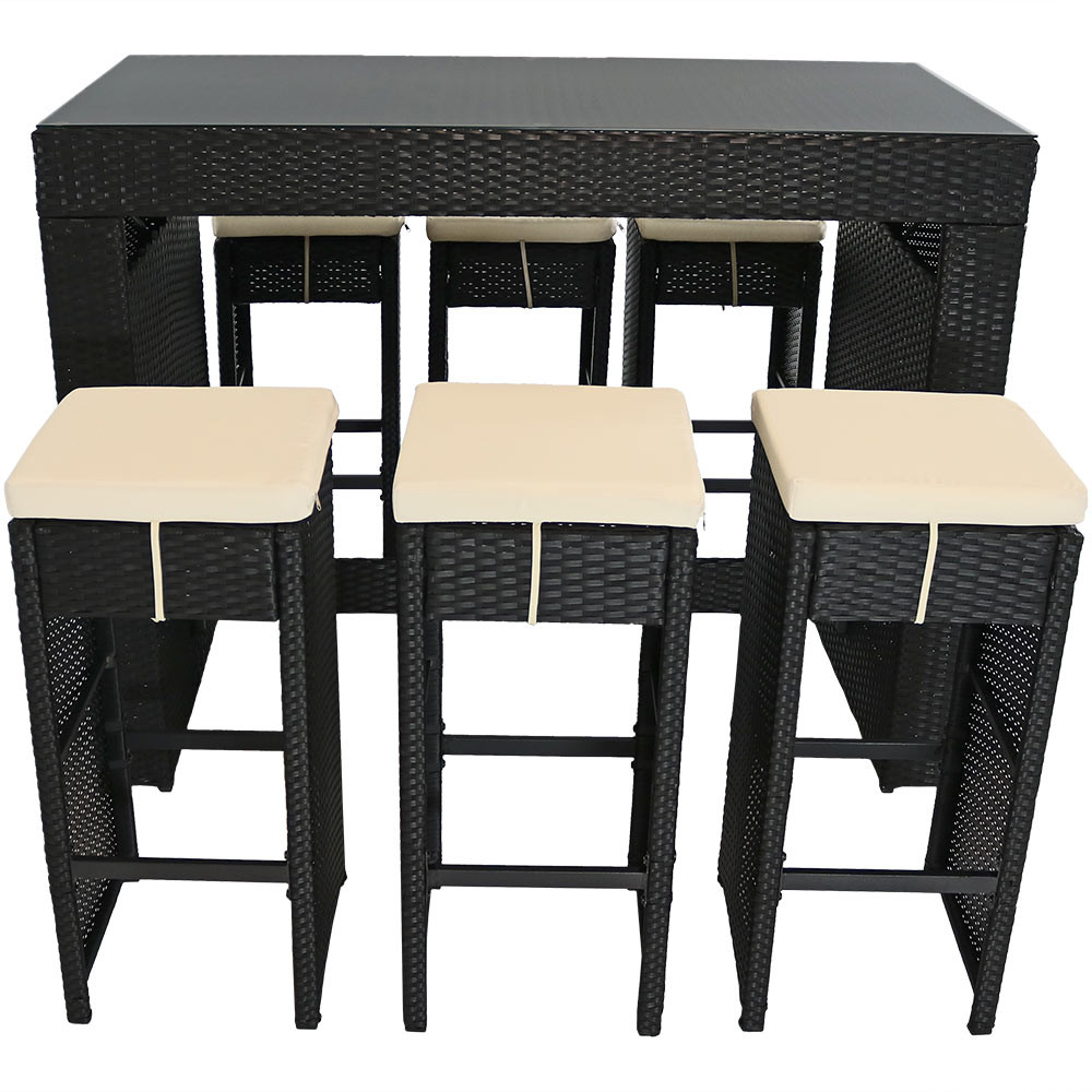 Sunnydaze Mombasa 7Piece Outdoor Patio Bar Set with Olive Grey