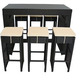Mombasa Wicker Rattan 7-Piece Outdoor Patio Bar Set