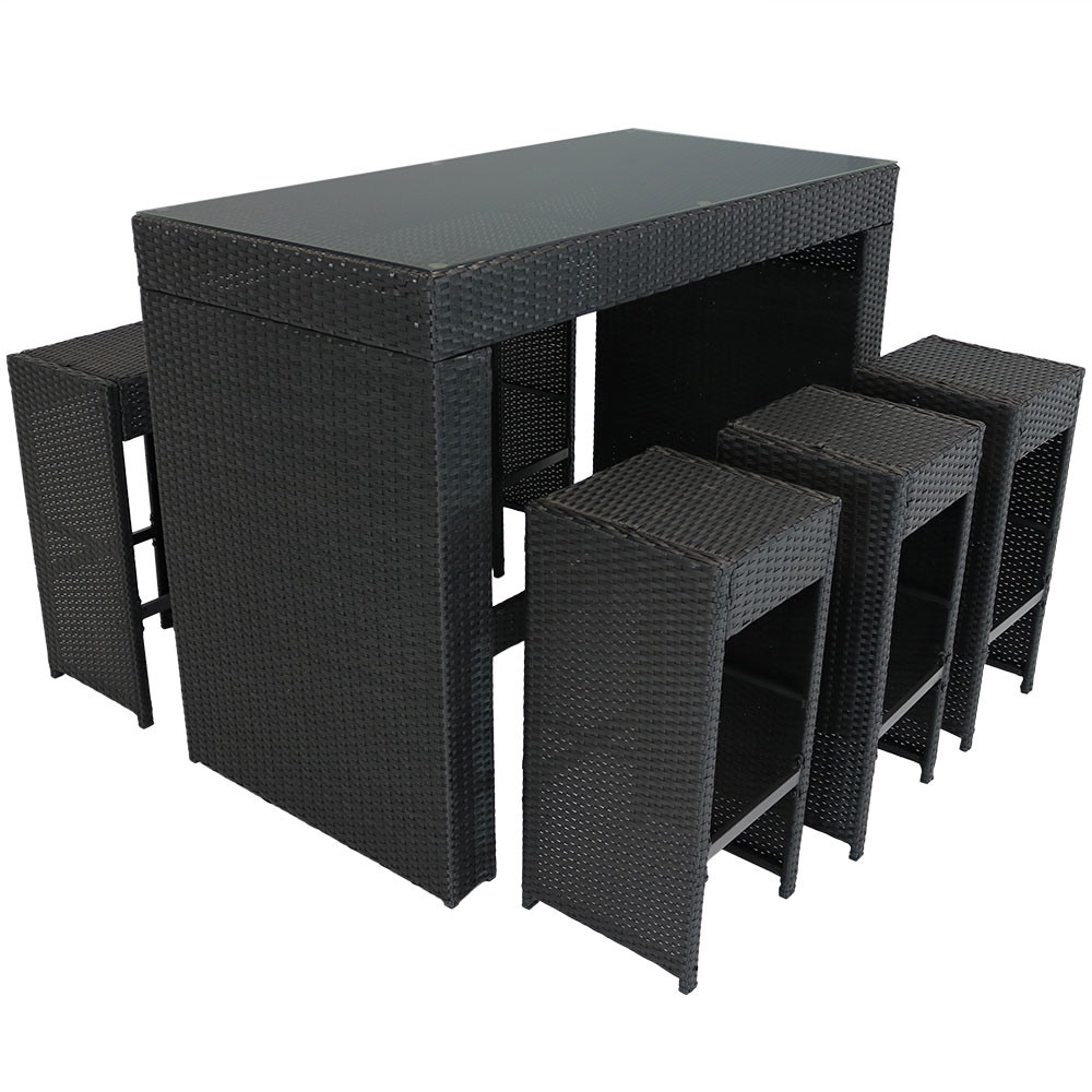 ... Mombasa Wicker Rattan 7 Piece Outdoor Patio Bar Set No Cushions