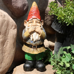 Sunnydaze Seth Speaks No Evil Garden Gnome, 12 Inch Tall
