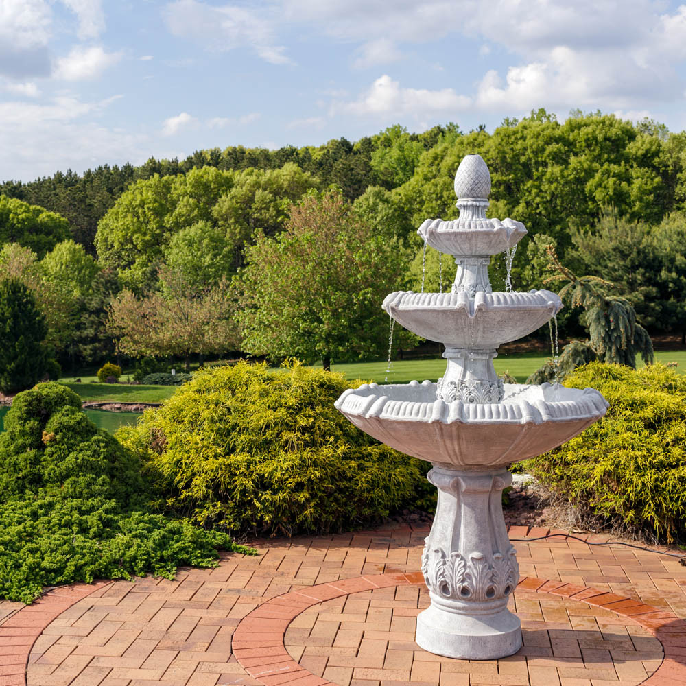 Water Fountain Garden: Sunnydaze 3-Tier Gothic Finial Outdoor Garden Water