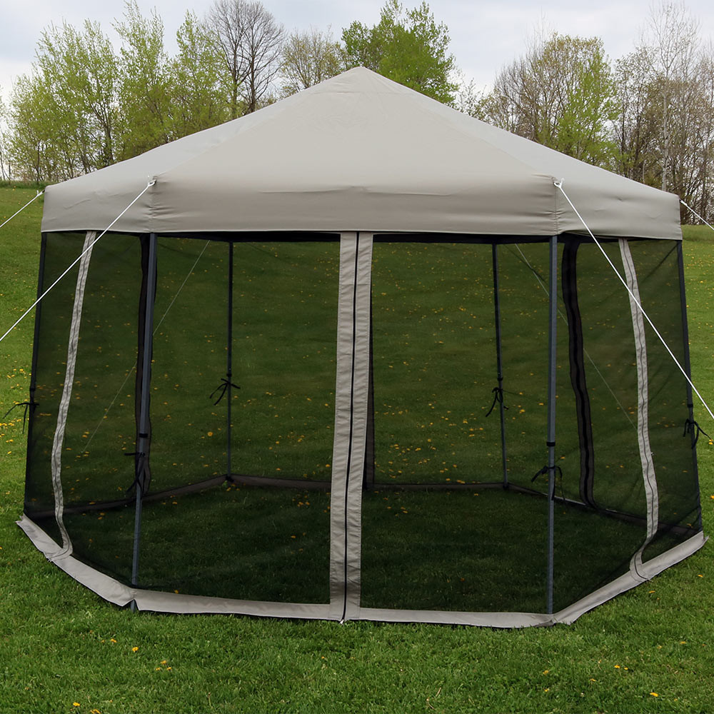 Outdoors. & Sunnydaze Penthouse Quick-Up Hexagon Canopy u2013 12u0027