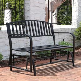 Sunnydaze 50-Inch Black Steel Outdoor Patio Glider Bench