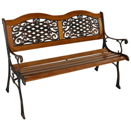Sunnydaze 2-Person Ivy Crossweave Cast Aluminum Wood Patio Bench, 49-Inch