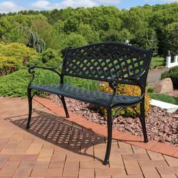 Sunnydaze 2 Person Checkered Cast Aluminum Garden Bench, Black