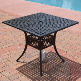 Sunnydaze Black Cast Aluminum Square Dining Table, 35-Inch