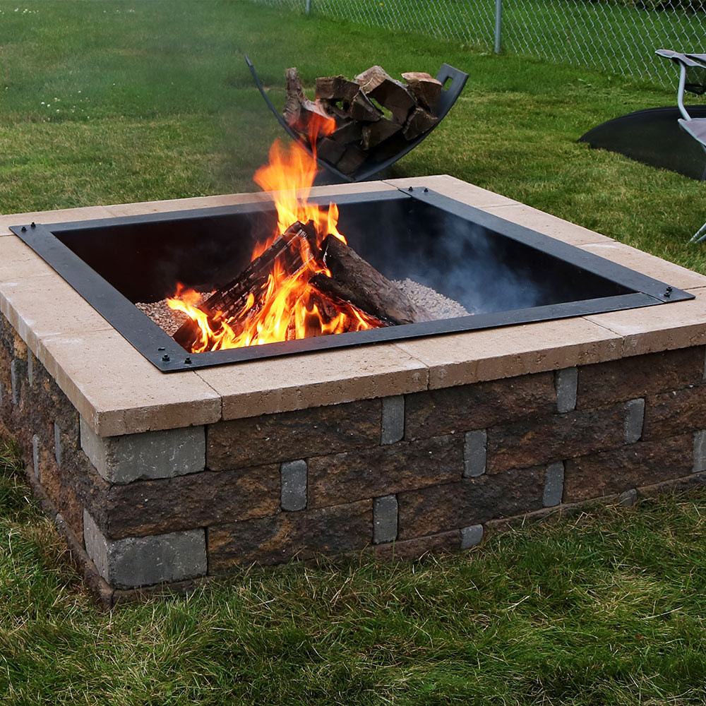 sunnydaze square heavyduty fire pit rimliner diy fire pit above or - Fire Pit Ring