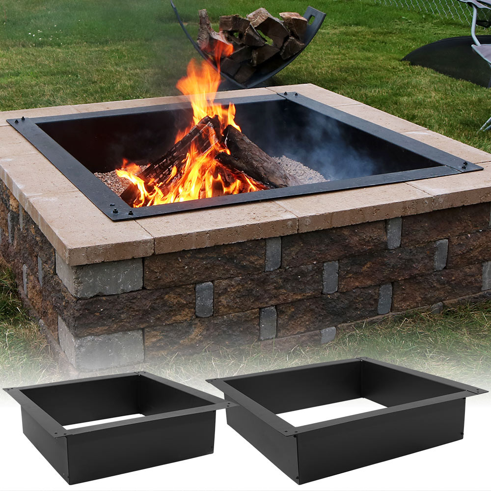 Sunnydaze Square Heavy Duty Fire Pit Rim/Liner, DIY Fire Pit Above Or