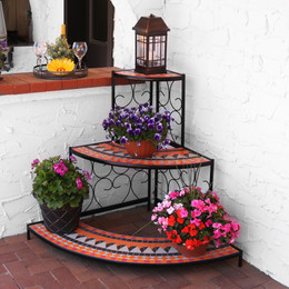 Sunnydaze 3 Tier Step Style Mosaic Tiled Indoor/Outdoor Corner Display  Shelf For Plants And Decor, 40 Inch Tall