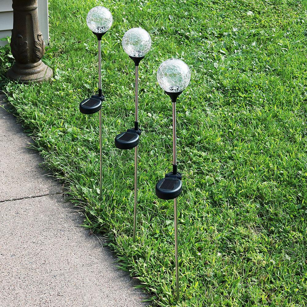 Sunnydaze Decorative Cracked Glass Ball with Multi-Colored Solar LED ...