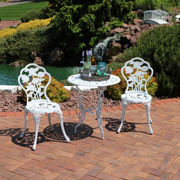 sunnydaze 3piece white flower designed cast aluminum bistro set