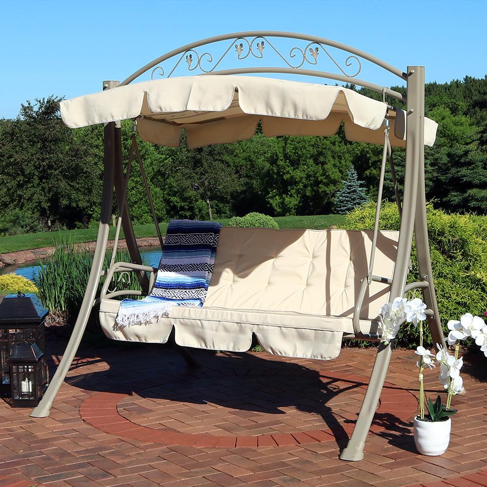 image 1  sunnydaze deluxe steel frame beige cushioned garden swing with      rh   serenityhealth