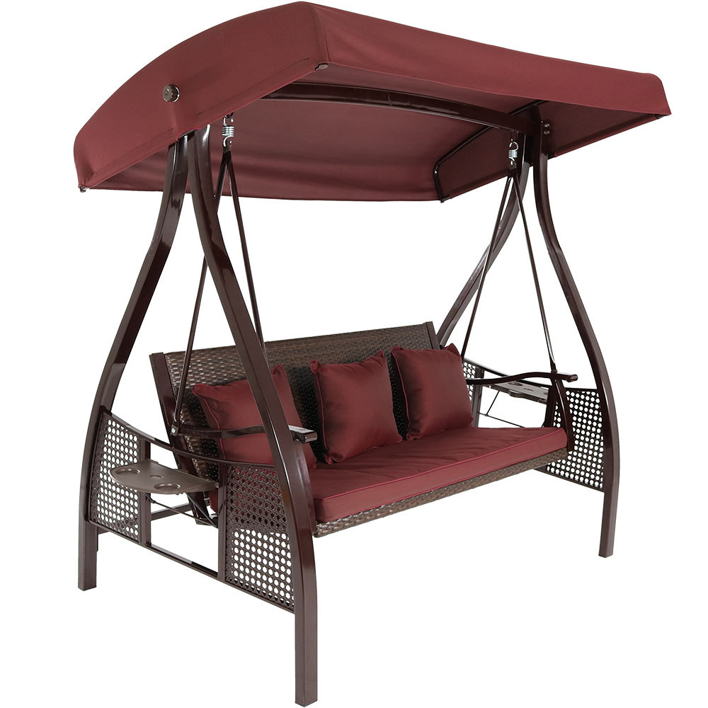 Patio Swing With Table: Sunnydaze Deluxe Steel Frame Maroon Cushioned Garden Swing