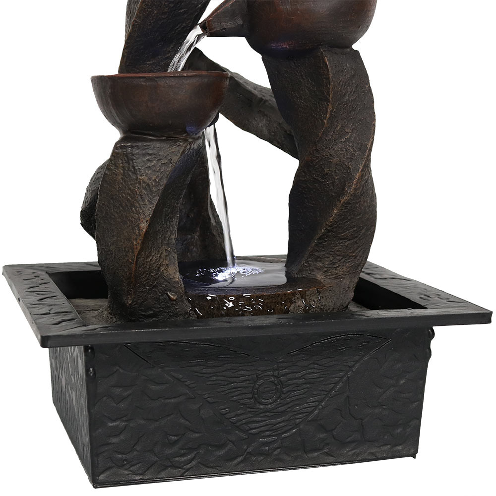 Sunnydaze spiraling column cascading tiered bowl indoor tabletop bottom workwithnaturefo