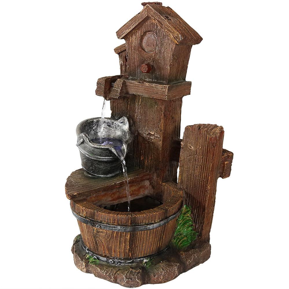 Sunnydaze birdhouse and silver bucket tiered indoor tabletop water full indoor lighted top bottom full workwithnaturefo