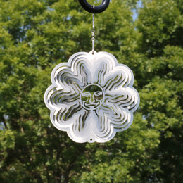 Sunnydaze 3D Silver Sun Wind Spinner with Hook, 6-Inch