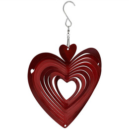 Sunnydaze 3D Heart Whirligig Wind Spinner with Hook, 6-Inch