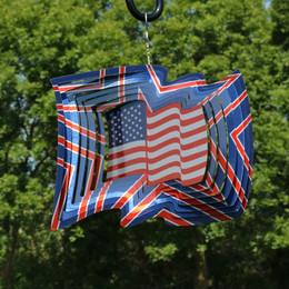 Sunnydaze 3D American Flag Wind Spinner with Hook, 12-Inch