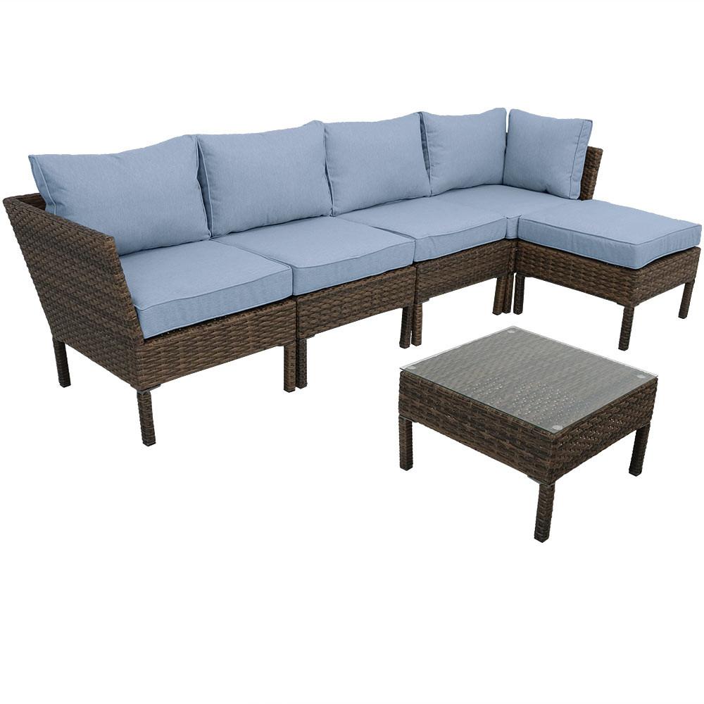 Sunnydaze Belgrano Wicker Rattan 6 Piece Sofa Sectional Patio